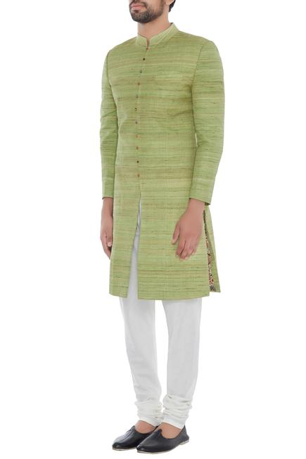 Mint green solid handloom silk achkan with printed lining