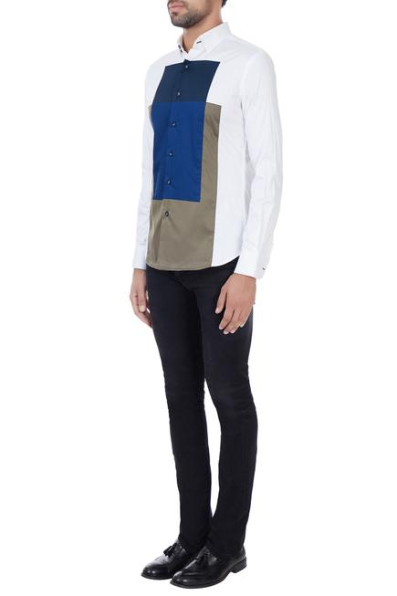 White dress shirt with geometric color-block patterns