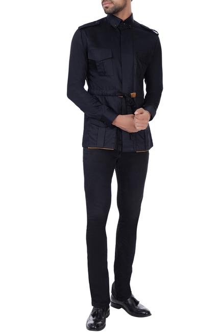 Black military shirt with belt & epaulets