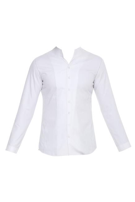 Stand Collar Plain Shirt