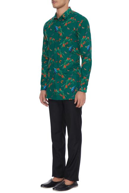 Green butterfly & floral printed collar shirt