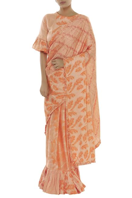 Linen Block Print Saree