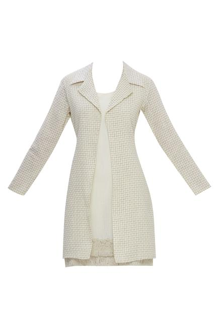 Checkered long jacket with inner