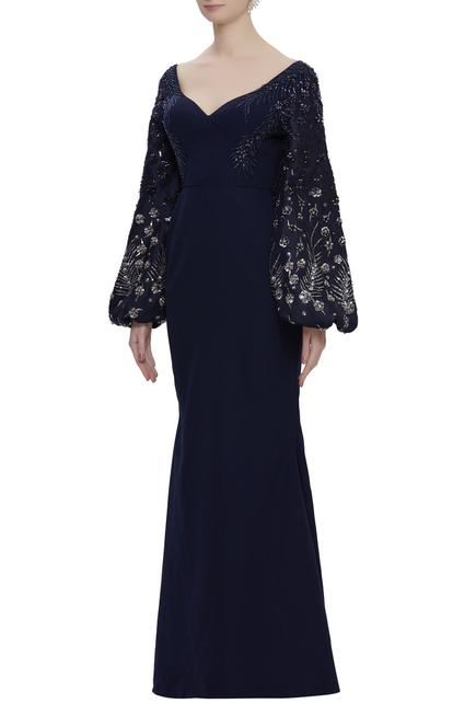 Embroidered trail gown