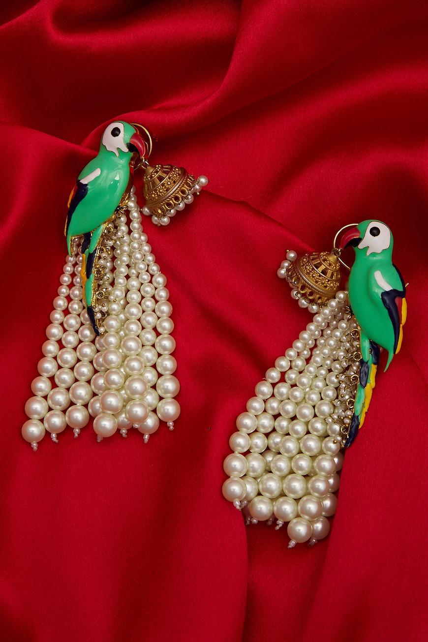 Bead parrot earrings