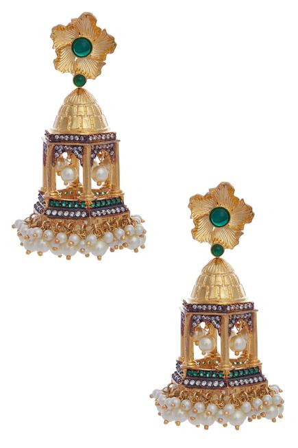 Bead jharokha earrings