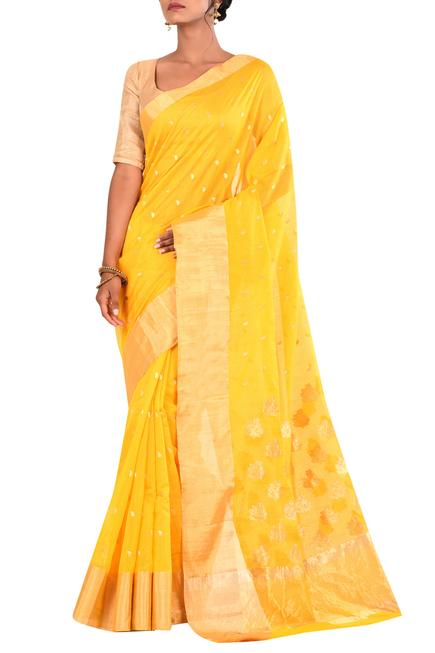 Pure Chanderi Handwoven Saree with running blouse