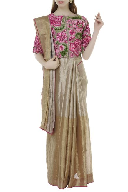 Chanderi Embroidered Saree Blouse