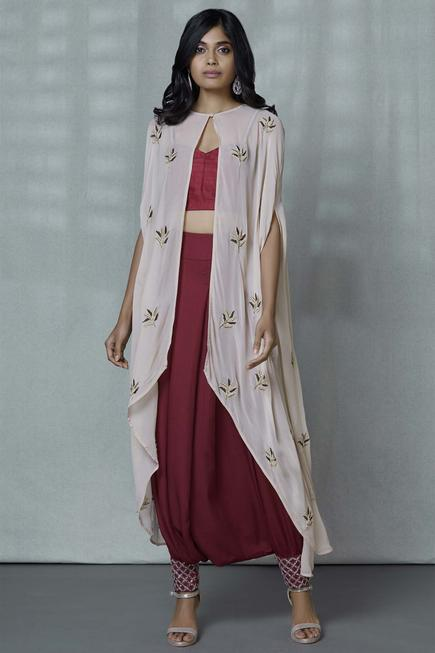 Embroidered Cape Pant Set