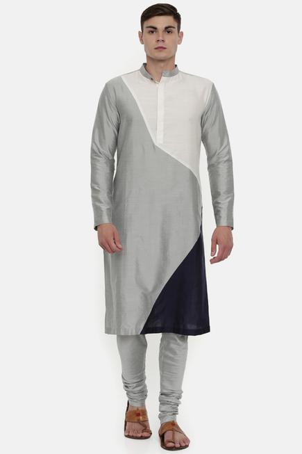 Silk Color Block Kurta Set