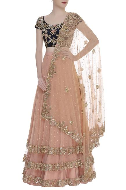 Embroidreed layered lehenga set
