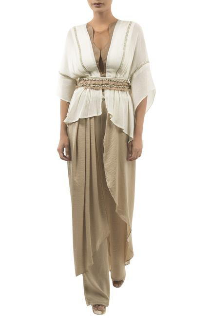 Draped Pant With Embroidered Top & Belt