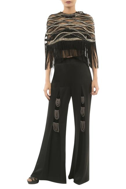 Embroidered Tassel Cape With Pants