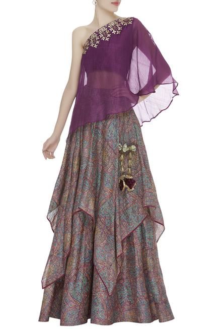 One shoulder embroidered top with printed layered lehenga