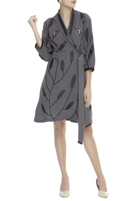 Applique Embroidered Wrap Dress