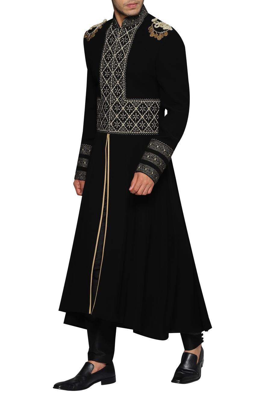 Geometric Embroidered Sherwani With Aladdin Pants