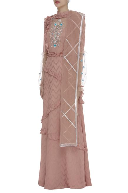 Cutdana Embroidered Ruffle Gown With Dupatta