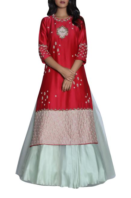 Hand embroidered kurta with lehenga