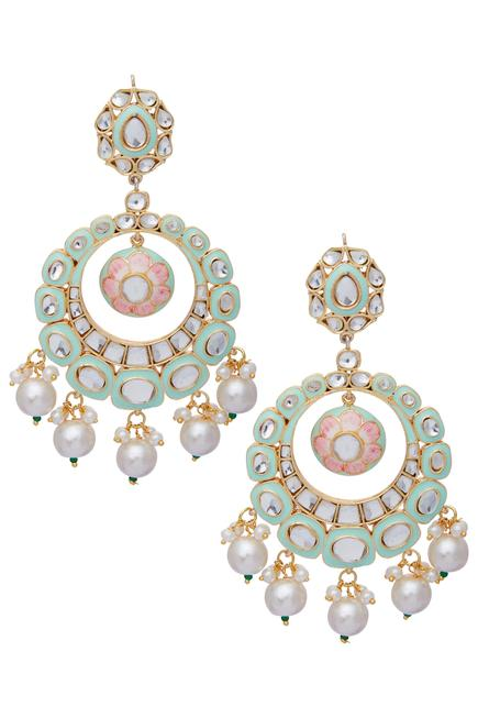 Mint Green Meenakari Chandbali earrings
