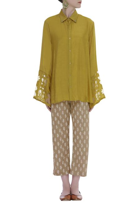 Cutwork sleeve Collared Shirt With Printed Pants