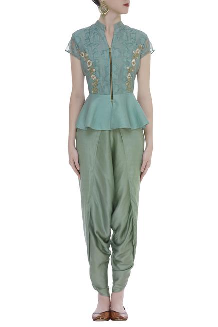 Embroidered Peplum Dhoti pant Set With Kamarbandh Baguette