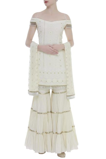 Hand Embroidered Kurta Sharara Set