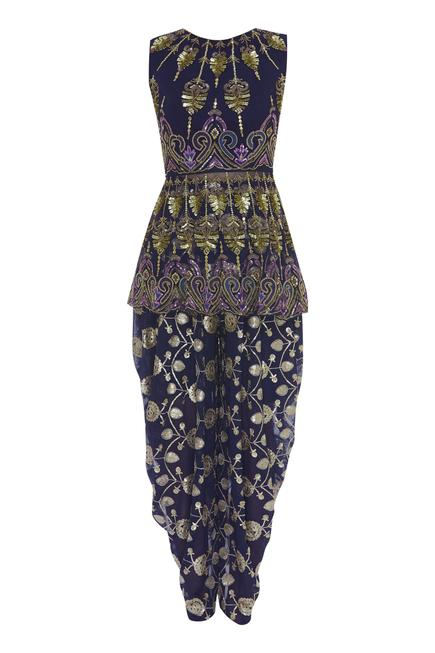 Sequin Embroidered Peplum Tunic With Dhoti Pants