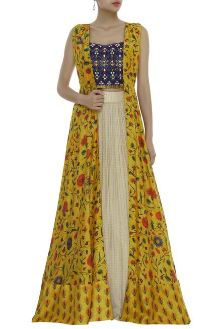 Hand embroidered top with skirt & printed cape