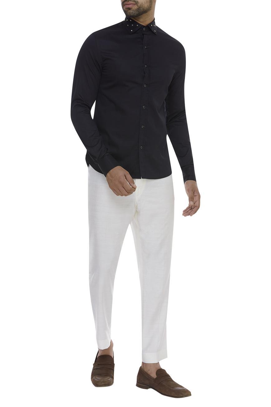 Stud embellished collar Shirt