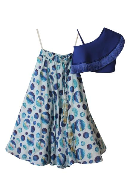 One Shoulder Tassel Top With Printed Skirt