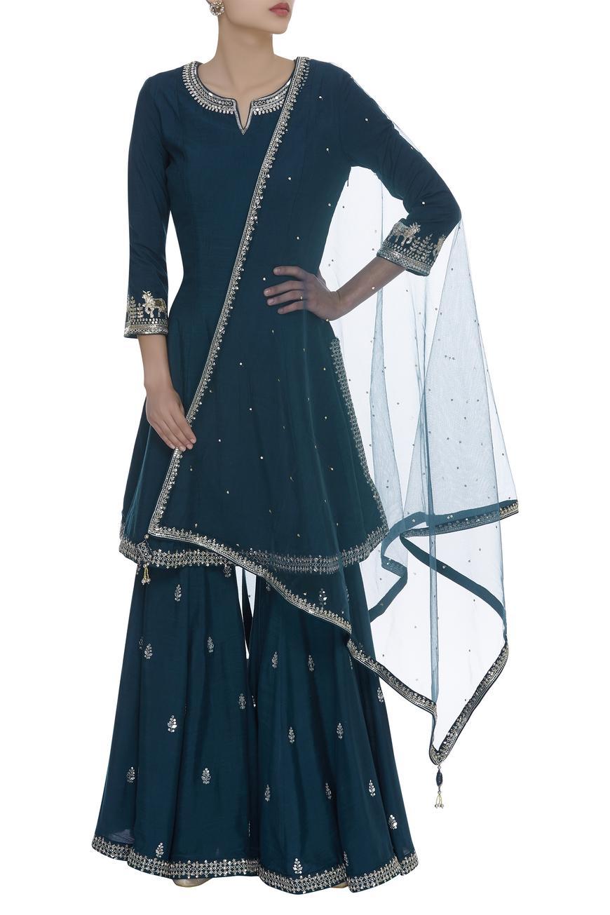 Kundan mirror embrodiered sharara kurta set