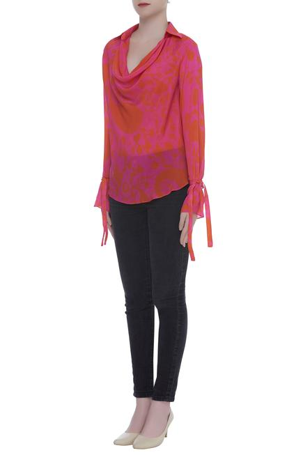 Cowl Neck Tie Up Cuff Sleeves Blouse