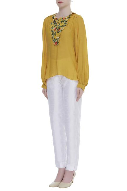 Linen Silk Embroidered Top