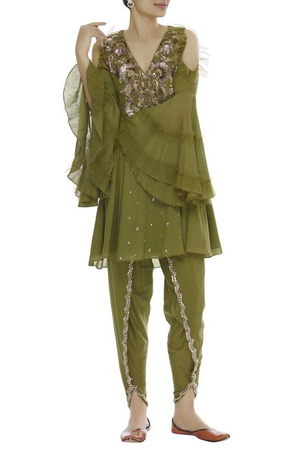 Cold Shoulder Embroidered Kurta With Dhoti Pants