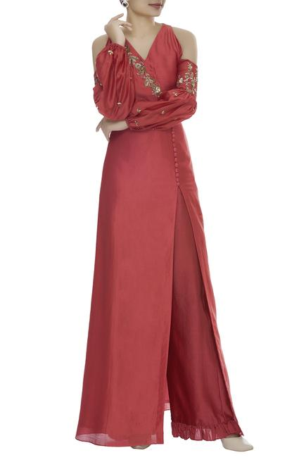 Cold Shoulder Puff Sleeve Kurta With Pants