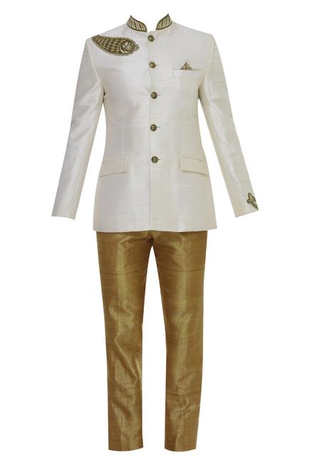 Gold embroidered bandhgala with trouser pant