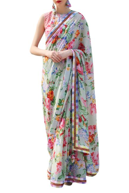 Floral printed & embrodiered saree with blouse