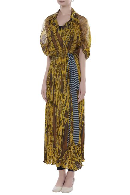 Paisley print kaftan with waist belt