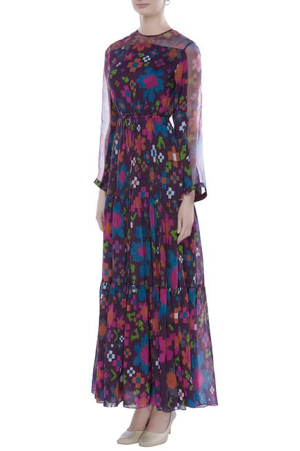 Abstract Floral Print Tiered Maxi Dress