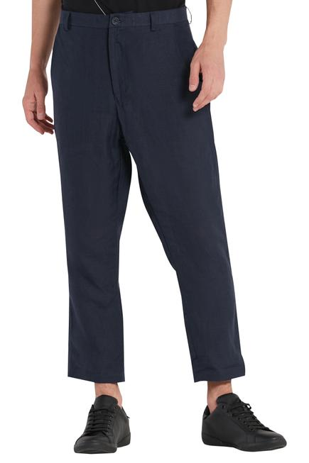Navy blue Linen Casual Trouser