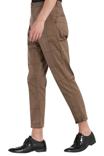 Check print trouser pant with side pockets