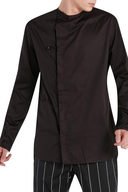 Overlap concealed placket shirt