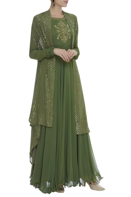Embroidered Anarkali With Cape