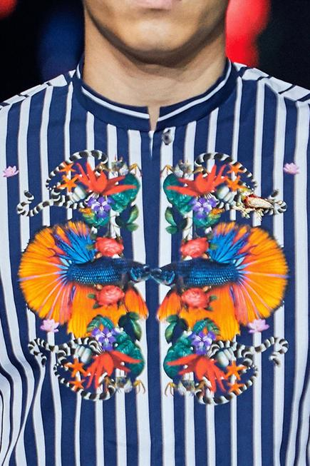 Striped shirt with flower print