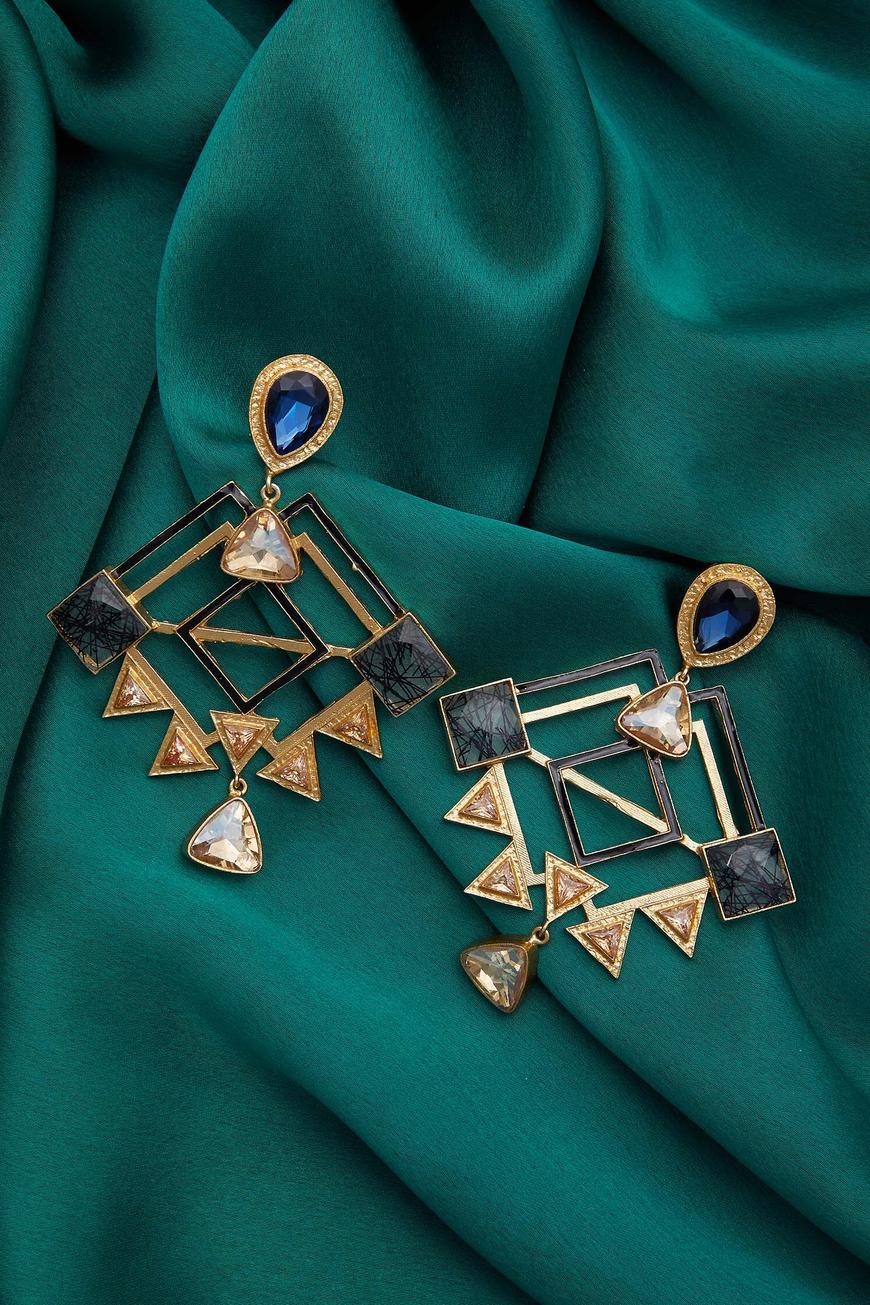 Geometric Carved Earrings