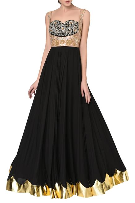 Embroidered Anarkali Gown Set