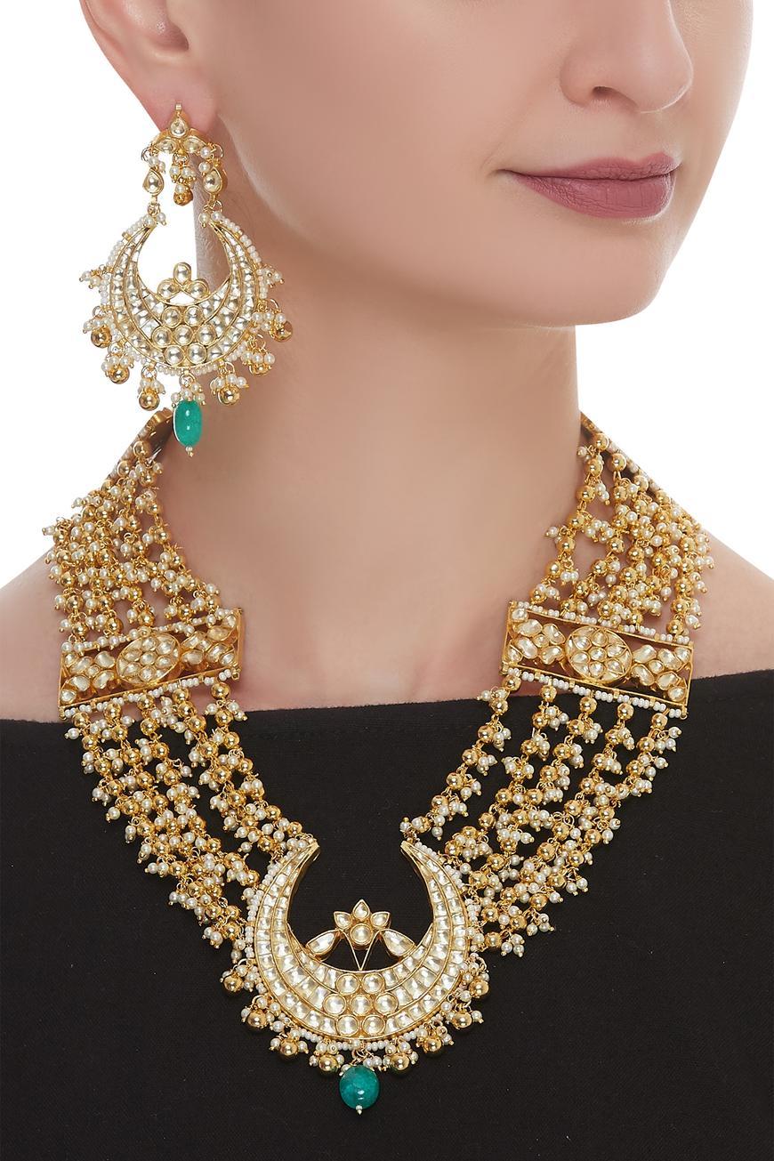 Kundan chandbali necklace set