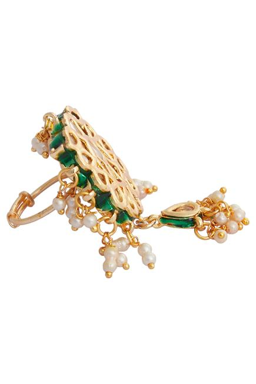 Floral Kundan & Bead Ring
