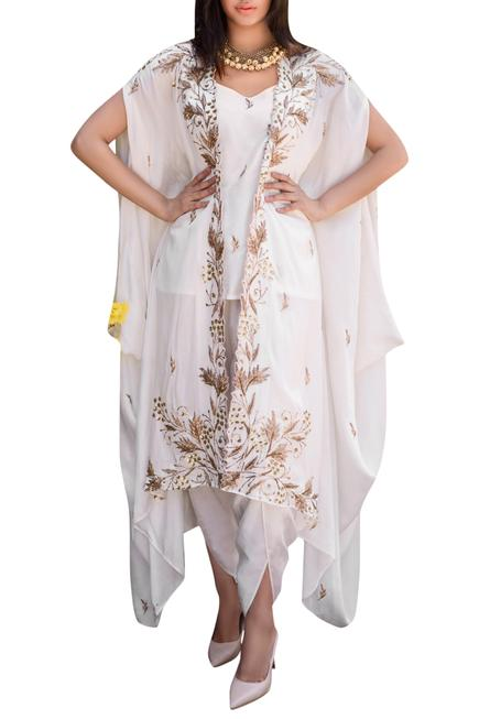 Embroidered Cape,Top & Dhoti pant Set