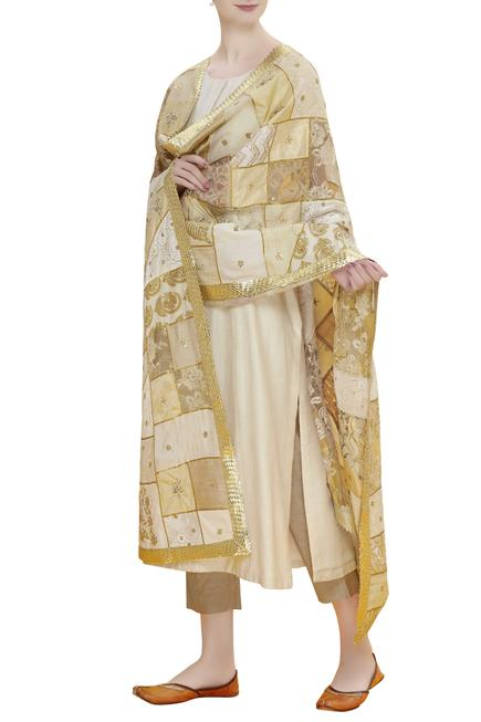 Kurta set with embroidered dupatta